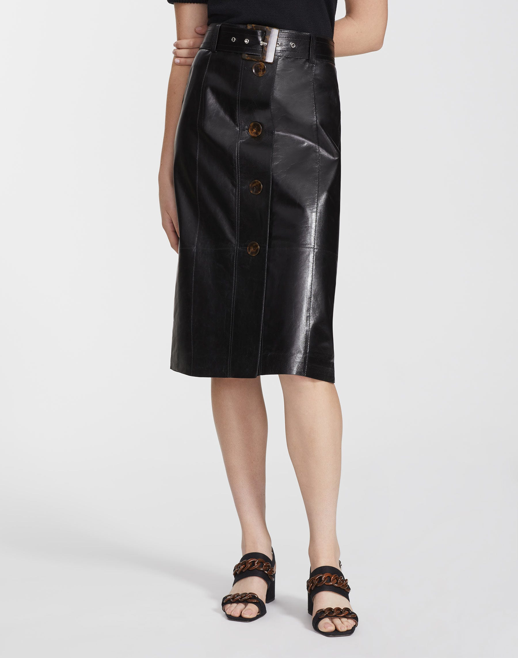 Lafayette 148 Skirts LACQUERED LAMBSKIN AVALON SKIRT