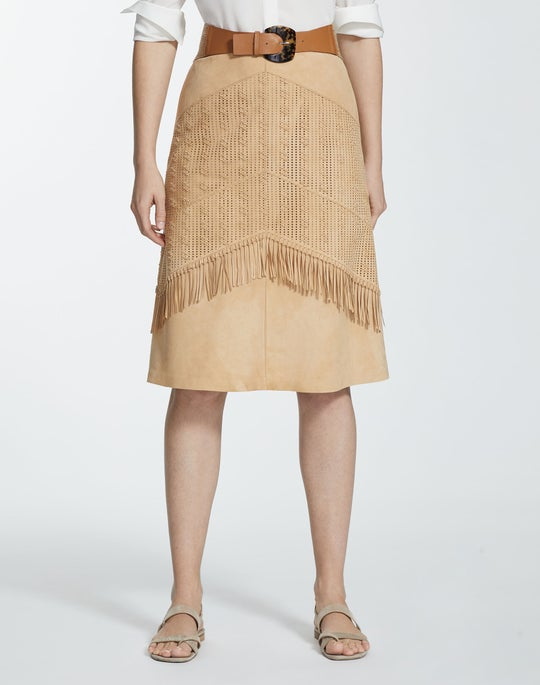 Lustrous Lambsuede Hand-Woven Dale Skirt