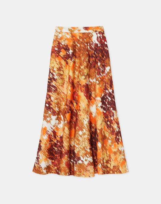 Plus-Size Sumner Skirt In Autumn Haze Print Silk-Wool Twill