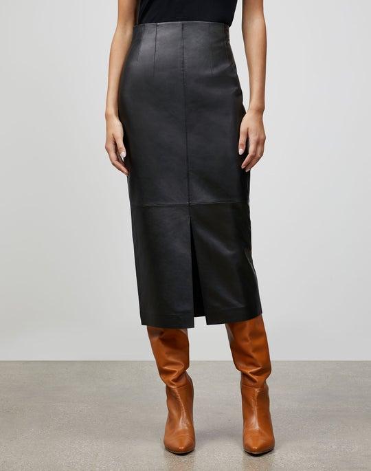 Plus-Size Italian Plonge Lambskin Carlotta Midi Skirt