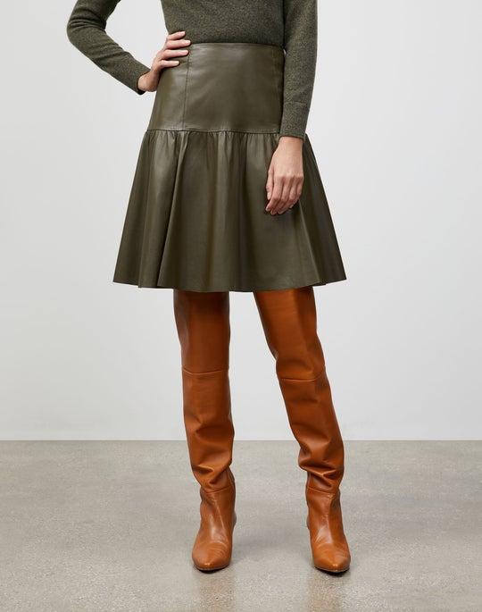 Lightweight Plonge Lambskin Fran Skirt