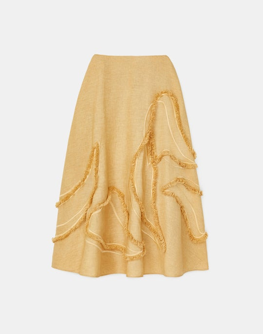 Helena Skirt In Eyelash Embellished Summer Linen