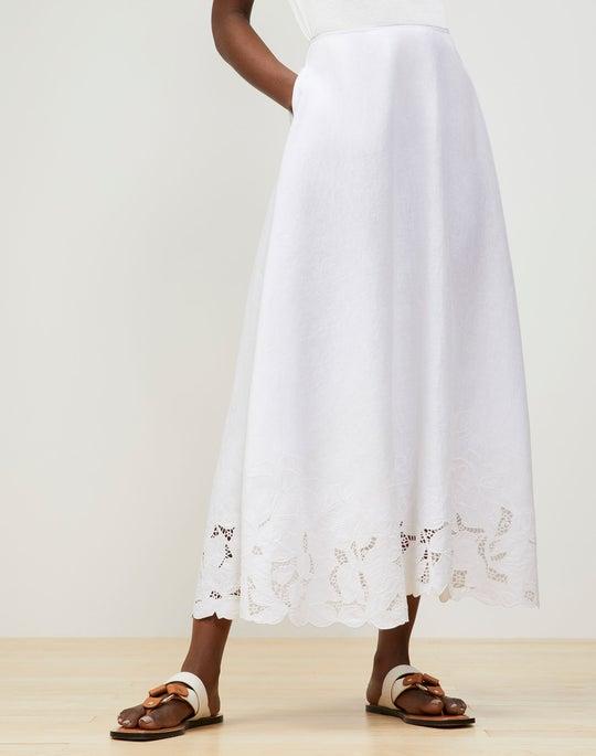 Helena Midi Skirt In Embroidered Summer Linen