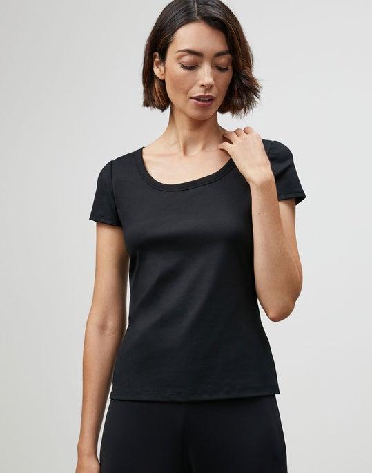 Petite Swiss Cotton Rib Scoop Neck T-Shirt