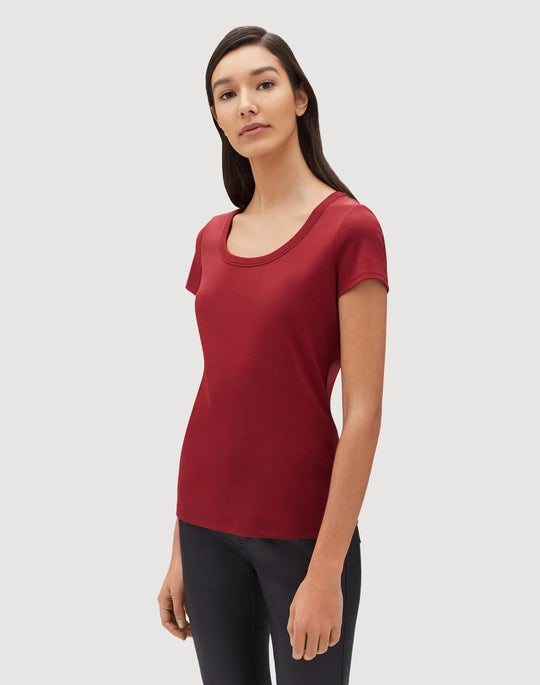 Plus-Size Swiss Cotton Rib Scoop Neck T-Shirt