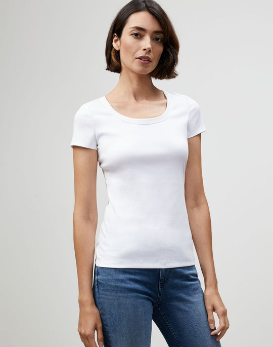 Petite Swiss Cotton Rib Scoop Neck T-Shirt
