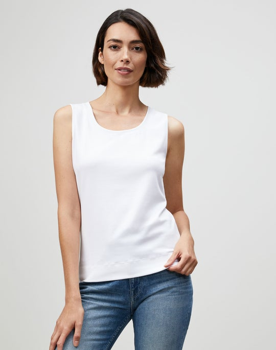 Swiss Cotton Rib Scoop Neck Tank