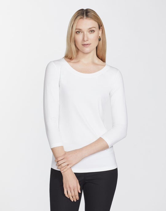 Plus-Size Swiss Cotton Rib Steffie Top