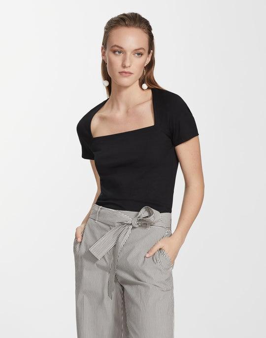Plus-Size Swiss Cotton Rib Corinne Top