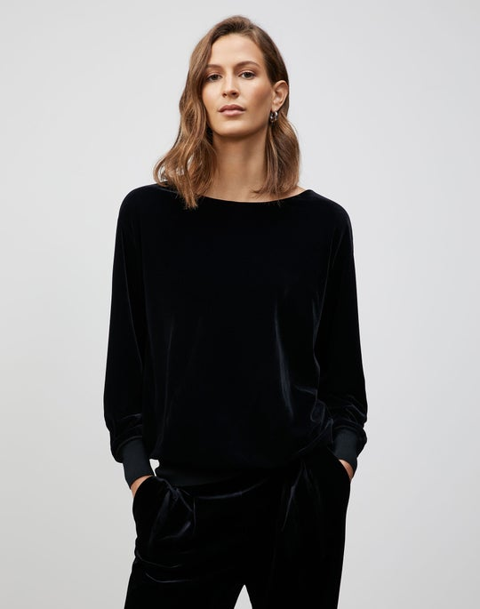 Plus-Size Velvet Jersey Coralie Sweatshirt