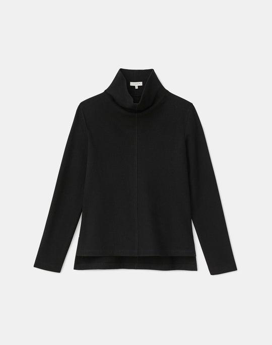 Zandra Draped Stand Collar Top In Finespun Italian Wool-Cashmere