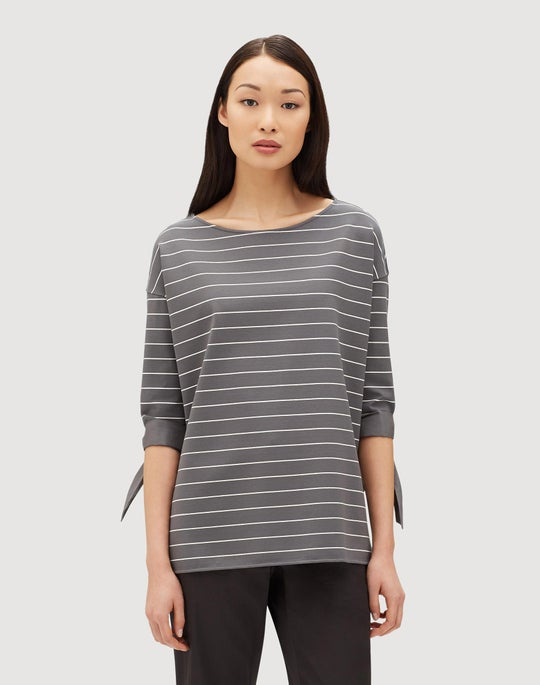 Plus-Size Mulberry Stripe Jersey Catriona Top