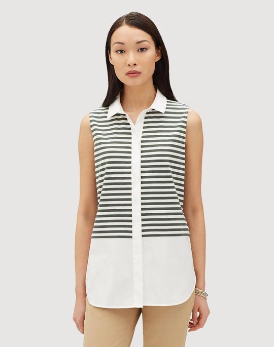 Yarn-Dyed Cotton Stripe Jersey Malta Blouse
