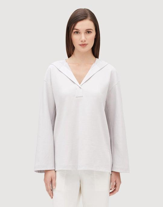 Cotton Terry Henley Hoodie Sweatshirt