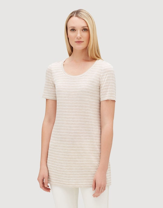 Plus-Size Lightweight Stripe Jersey Mikki Tee