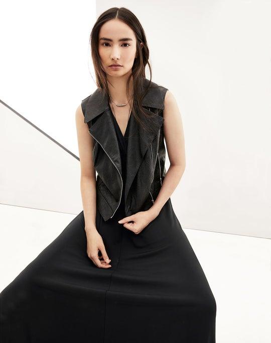 Leather Stevie Vest and Elisabetta Dress