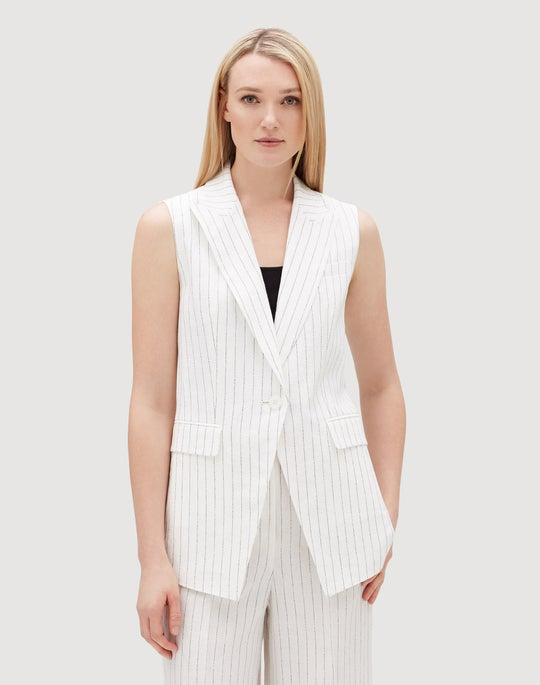 Arcadian Pinstripe Linen Vanya Vest