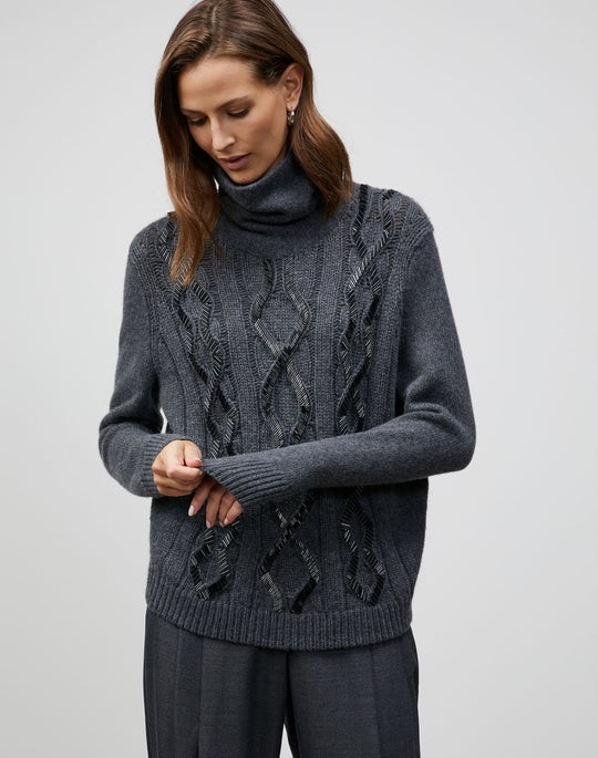 KindCashmere Embellished Infinity Cable Sweater