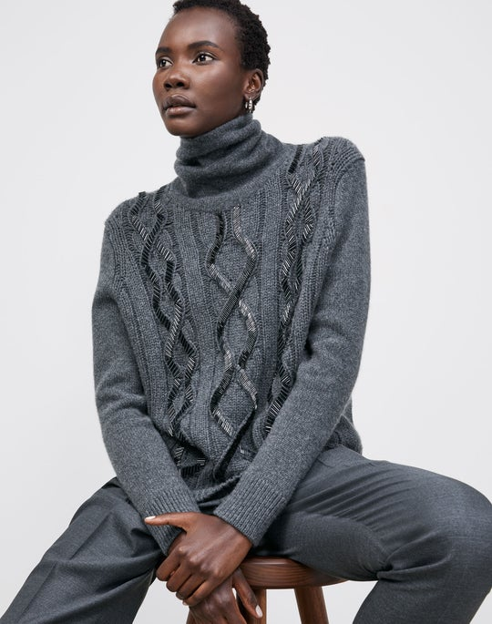 Embellished Cable Sweater and Ellis Pleated Pant