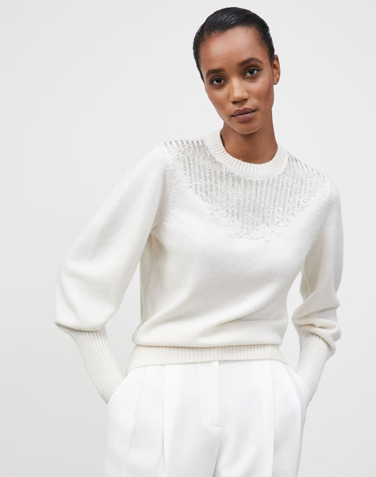 KindCashmere Chevron Hand-Beaded Sweater