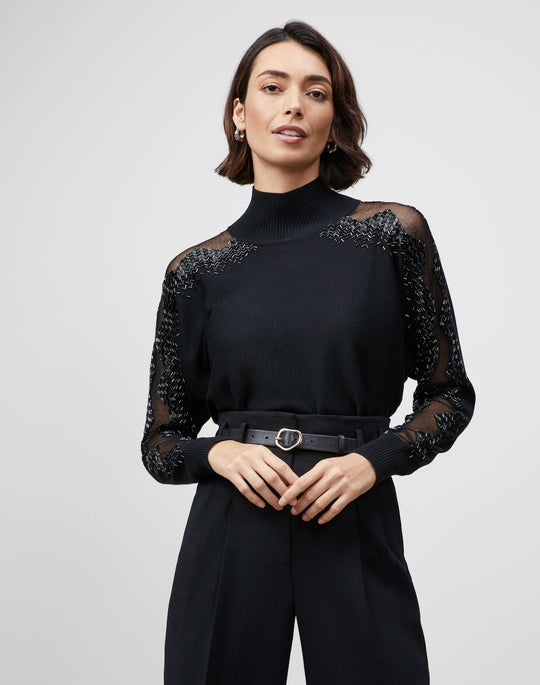Embellished Italian Merino-Silk Mockneck Sweater