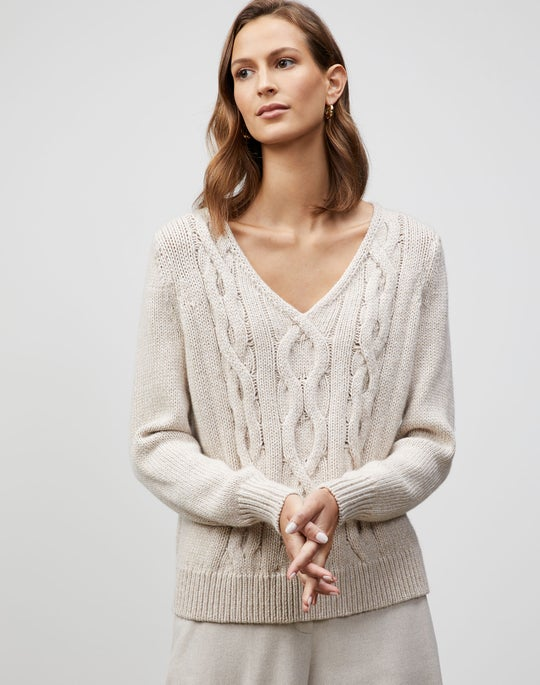 Plus-Size Lofty Italian Virgin Wool Chine Cable Pullover
