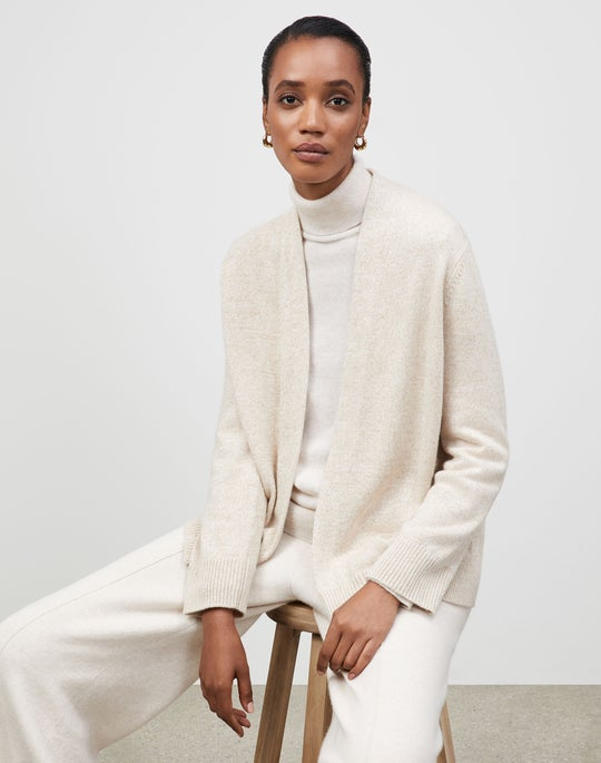Plus-Size KindCashmere Chine Open Front Cardigan