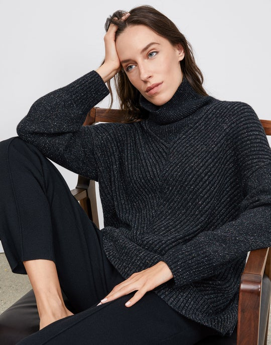 Chevron Turtleneck and Knit Tapered Pant