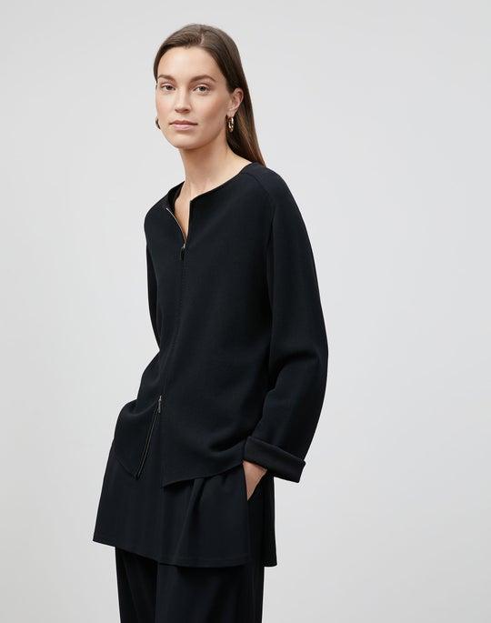 Cotton Crepe Double Knit Zip-Front Cardigan