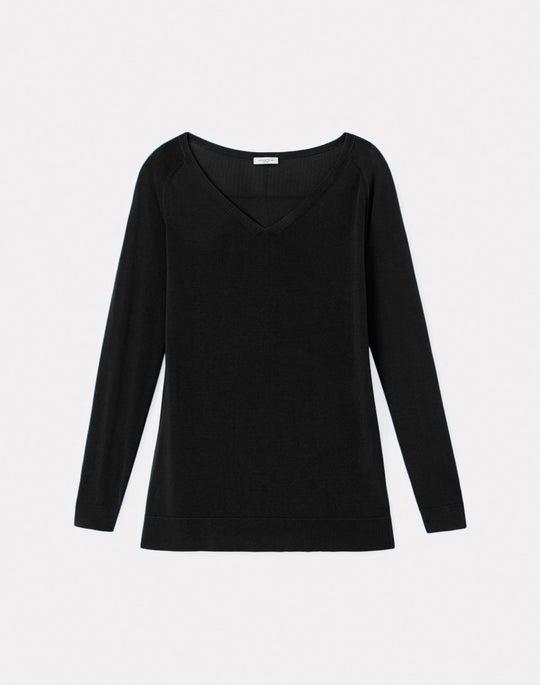Cotton Crepe Plaited V-Neck Sweater