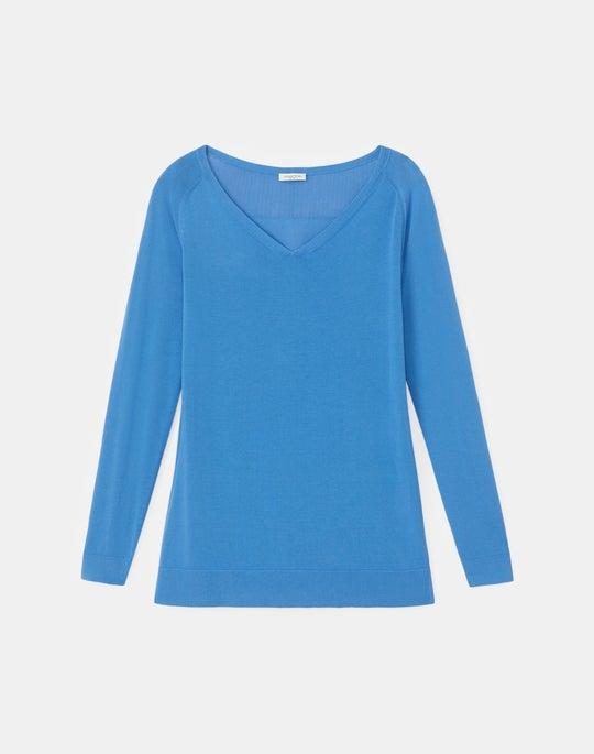 Petite Cotton Crepe Plaited V-Neck Sweater