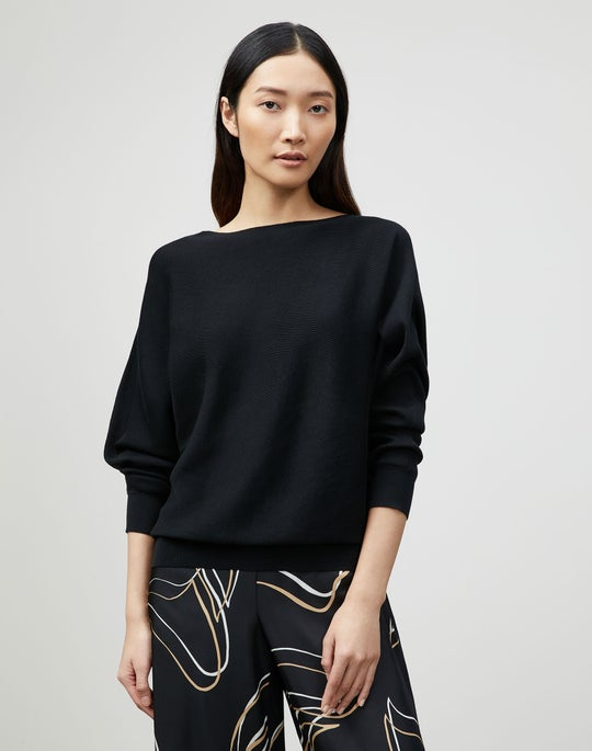 Plus-Size Cotton Silk Ribbed Asymmetric Sweater