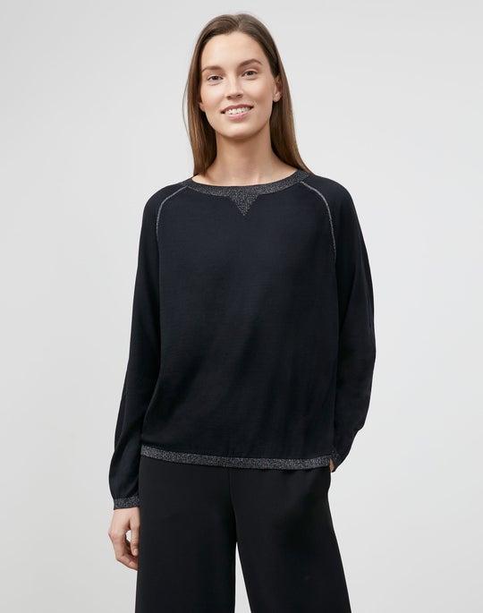 Petite Matte Crepe Crewneck Sweater