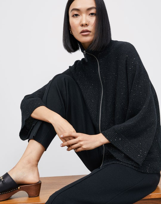 Zip Front Cape and Knit Tapered Pant