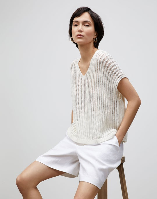 Plus-Size Cotton Silk Tape Open Knit V-Neck Sweater