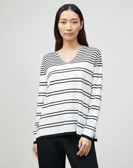Matte Crepe Striped V-Neck Sweater