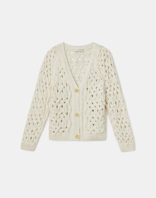 Italian Linen-Cotton Infinity Cable Cardigan
