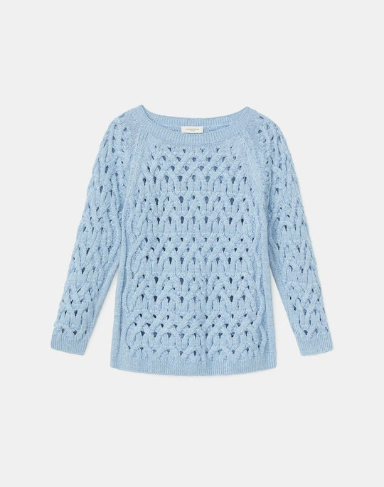 Italian Linen-Cotton Infinity Cable Sweater