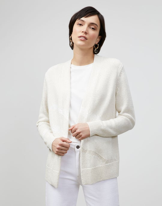 Italian Linen-Cotton Intarsia Open Front Cardigan