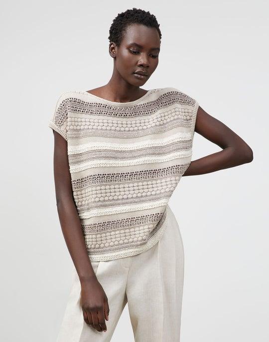 Cotton Silk Tape Mixed Stitch Bateau Neck Sweater