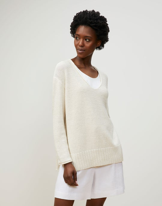 Plus-Size Italian Linen-Cotton V-Neck Sweater