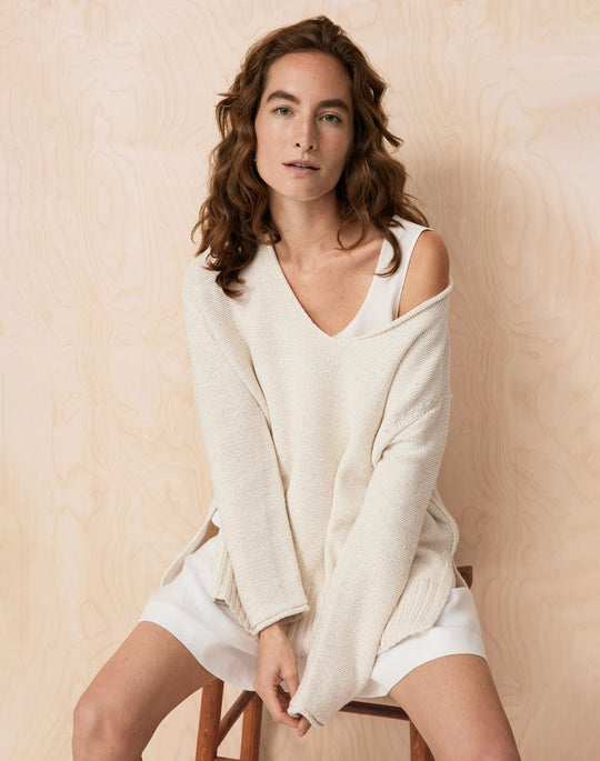 Wide V Neck Sweater and Degraw Short