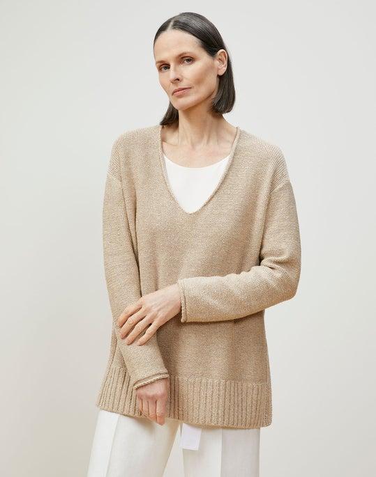 Italian Linen-Cotton V-Neck Sweater