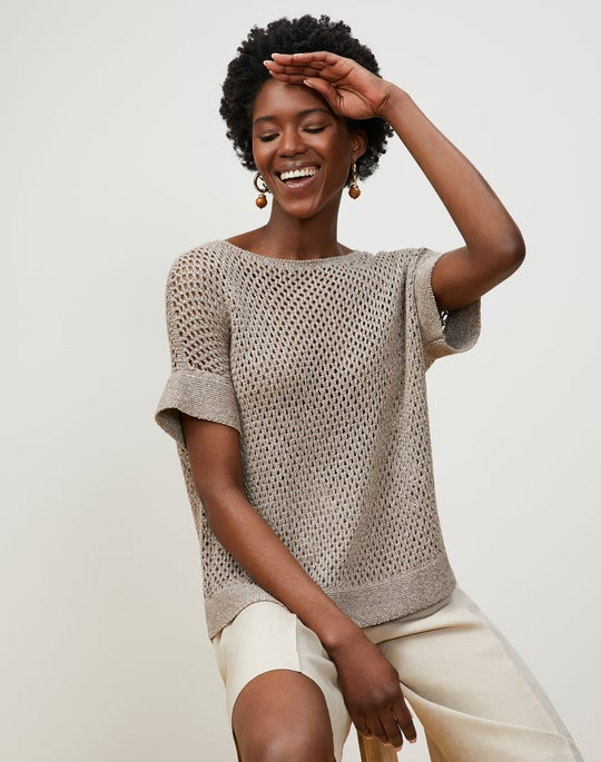 Italian Linen-Cotton Mesh Stitch Bateau Neck Sweater