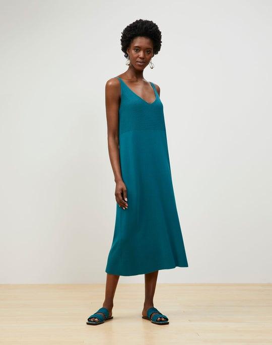Cotton Crepe V-Neck Dress