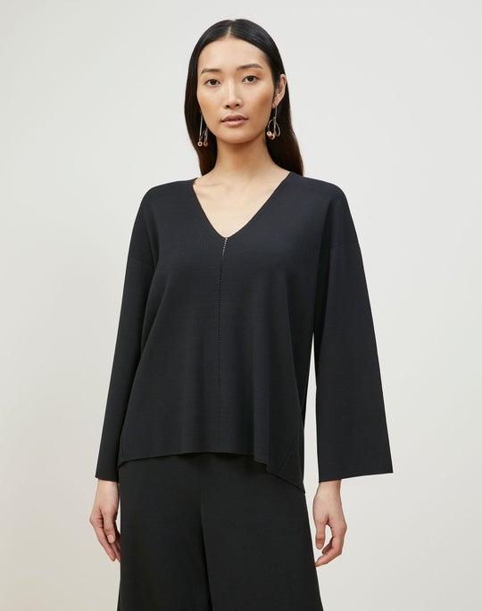 Matte Crepe Knit V-Neck Sweater
