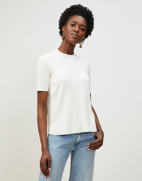 Cotton Crepe Crewneck Pullover Sweater