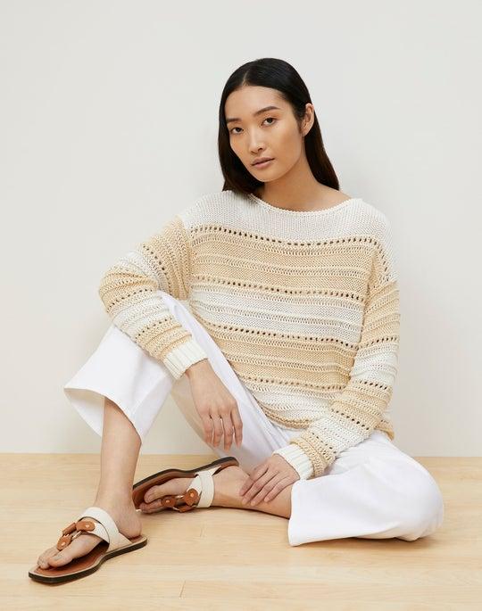 Cotton Silk Tape Striped Open Stitch Sweater