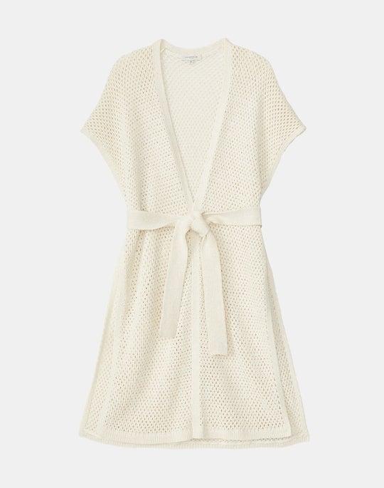 Italian Linen-Cotton Mesh Stitch Belted Cardigan