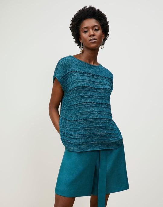 Cotton Silk Tape Bateau Neck Open Stitch Pullover